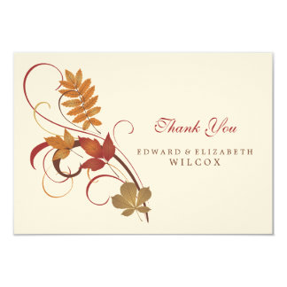 Flat Thank You Card | Autumn Fall Leaves
