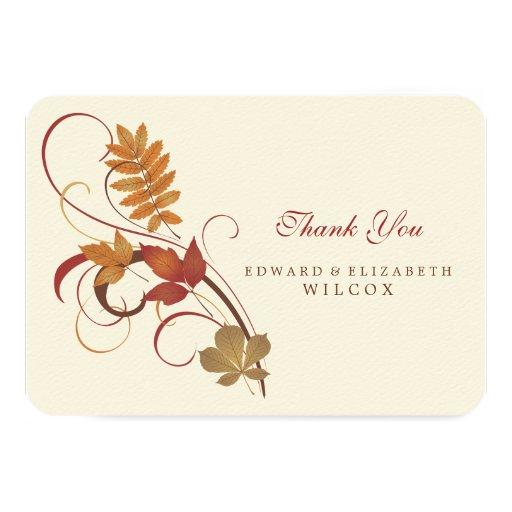 "Flat Thank You Card | Autumn Fall Leaves 3.5"" X 5"" Invitation Card"