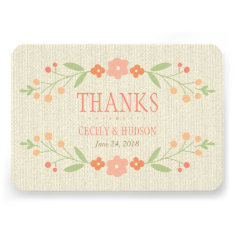 Flat Thank You Card | Country Florals Pink Custom Invitations