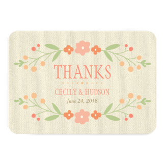 Flat Thank You Card   Country Florals Pink Custom Invitations