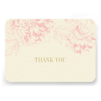 Flat Thank You Cards | Pink Floral Peony Design