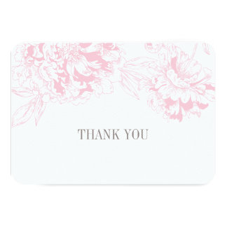 "Flat Thank You Cards | Pink Floral Peony Design 3.5"" X 5"" Invitation Card"