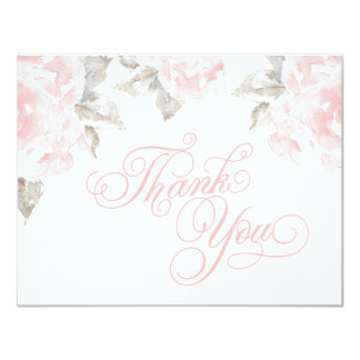 Flat Thank You Cards | Pink Watercolor Roses