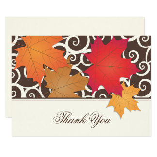 Flat Thank You Note Card   Autumn Leaves Theme