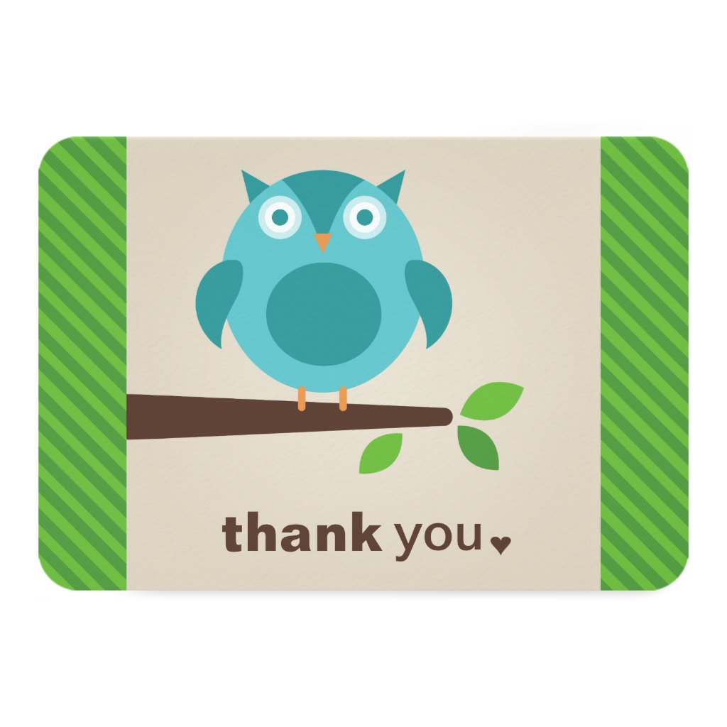 Flat Thank You Note Card Blue Owl Theme Invitations