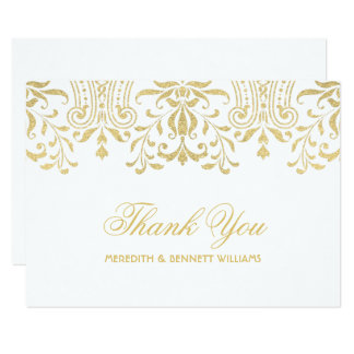 Flat Thank You Note Card   Gold Vintage Glamour