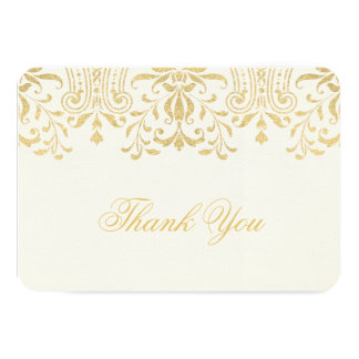 Flat Thank You Note Card | Gold Vintage Glamour Announcements