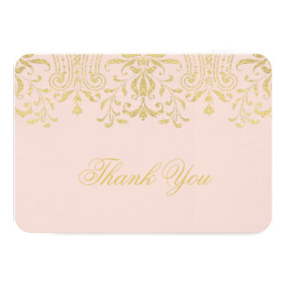 Flat Thank You Note Card | Gold Vintage Glamour Personalized Invitations
