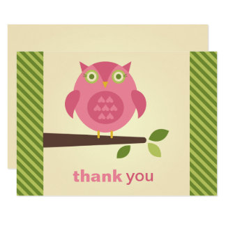Flat Thank You Note Card   Pink Owl Theme