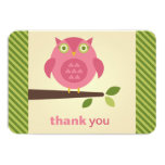 "Flat Thank You Note Card | Pink Owl Theme 3.5"" X 5"" Invitation Card"