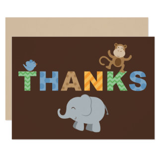 Flat Thank You Note Cards | Jungle Animals