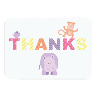 Flat Thank You Note Cards | Jungle Animals Announcement