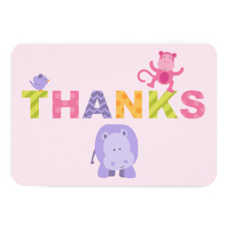 Flat Thank You Note Cards | Jungle Animals Custom Announcements