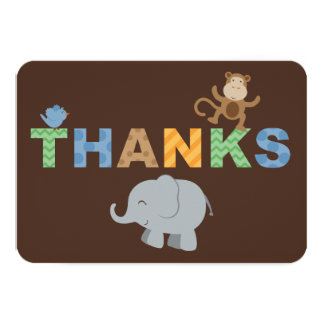 Flat Thank You Note Cards | Jungle Animals Personalized Invite