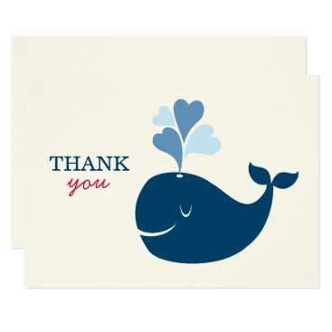 Toddler & Baby themed Flat Thank You Notes   Nautical Preppy Whales Card