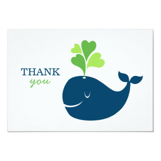 Flat Thank You Notes | Nautical Preppy Whales Card Announcements