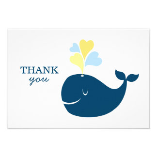 Flat Thank You Notes Nautical Preppy Whales Card