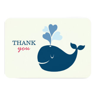"Flat Thank You Notes | Nautical Preppy Whales Card 3.5"" X 5"" Invitation Card"