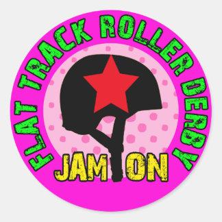 Flat Track Roller Derby, Jam On Classic Round Sticker
