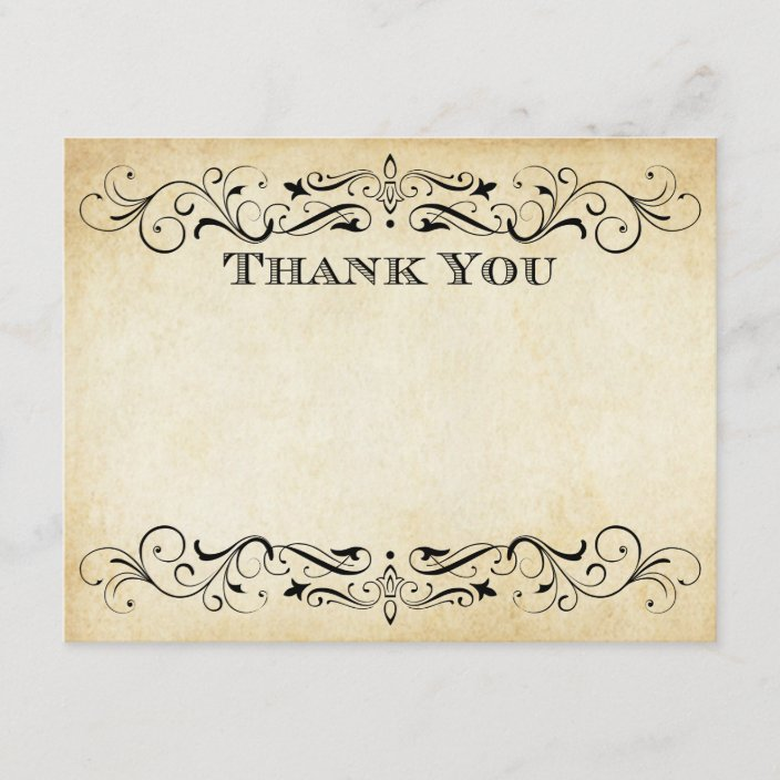 Flat Wedding Thank You Cards Vintage