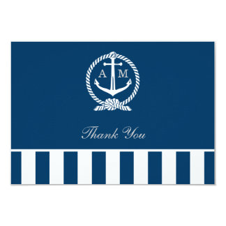Flat Wedding Thank You Notes | Nautical Stripes 3.5x5 Paper Invitation Card