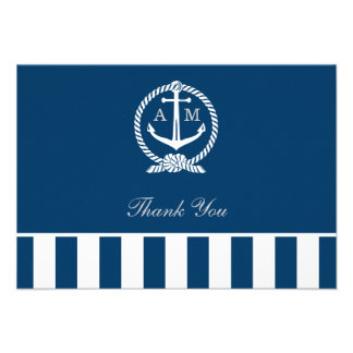 Flat Wedding Thank You Notes | Nautical Stripes Announcement