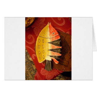 Flat yellow and red fish card