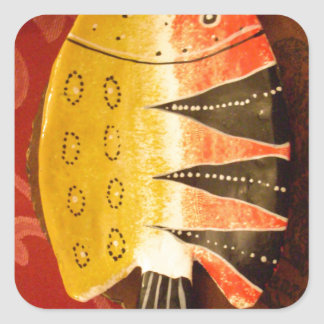 flat yellow and red fish with black stripes.jpg square sticker