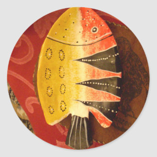 flat yellow and red fish with black stripes.jpg classic round sticker