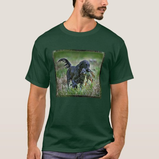 Flatcoated Retriever with duck T-Shirt