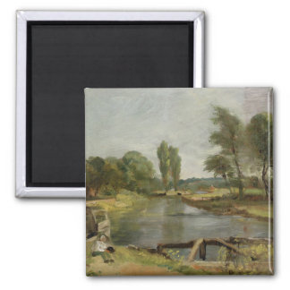 Flatford Lock, 1810-11 (oil on paper on canvas) 2 Inch Square Magnet