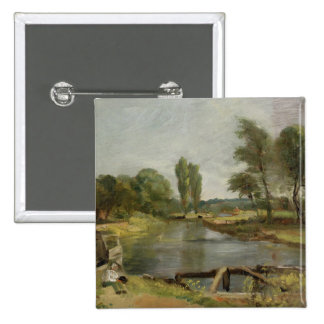 Flatford Lock, 1810-11 (oil on paper on canvas) Pinback Button