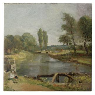 Flatford Lock, 1810-11 (oil on paper on canvas) Large Square Tile