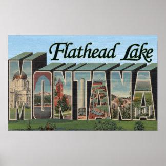 Flathead Lake, Montana - Large Letter Scenes Poster