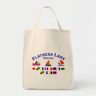Flathead Lake MT Signal Flags Grocery Tote Bag