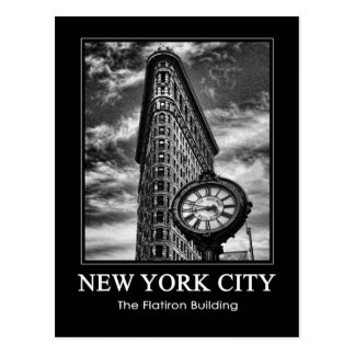 Flatiron Building and Clock in Black and White 1C Postcard