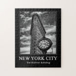 Flatiron Building and Clock in Black and White 1C Jigsaw Puzzle