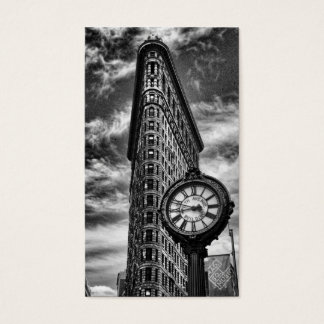Flatiron Building and Clock in Black and White Business Card