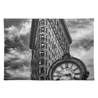 Flatiron Building and Clock in Black and White Cloth Placemat