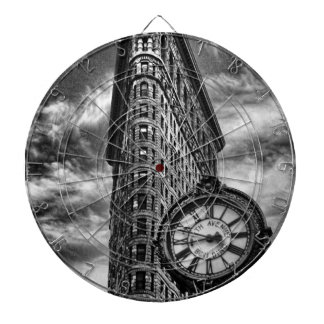 Flatiron Building and Clock in Black and White Dart Board