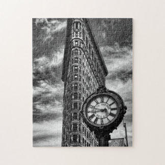 Flatiron Building and Clock in Black and White Jigsaw Puzzle