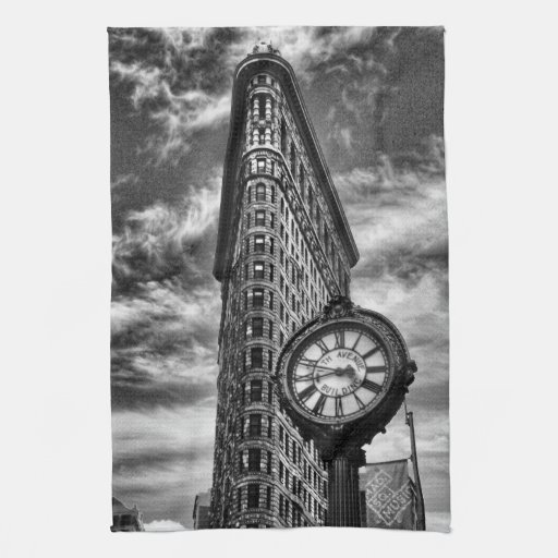 Flatiron Building and Clock in Black and White Kitchen Towels