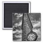 Flatiron Building and Clock in Black and White Refrigerator Magnets