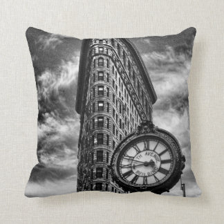 Flatiron Building and Clock in Black and White Throw Pillows
