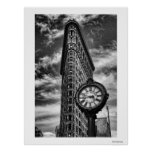 Flatiron Building and Clock in Black and White Poster
