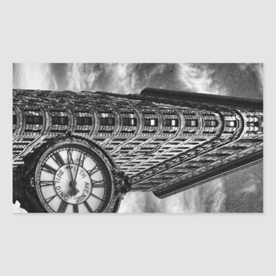 Flatiron Building and Clock in Black and White Rectangular Sticker