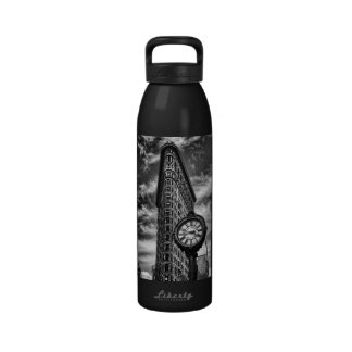 Flatiron Building and Clock in Black and White Water Bottle