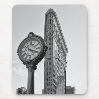 Flatiron Building and Clock in Black White #2 Mouse Pad