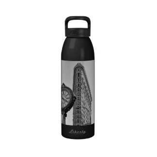 Flatiron Building and Clock in Black White #2 Reusable Water Bottle