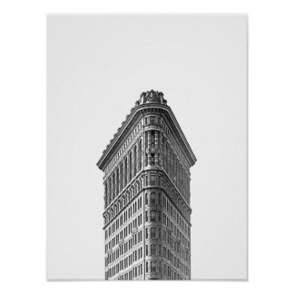 Flatiron Building Black & White Minimalist Poster